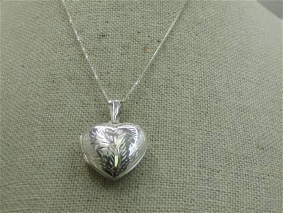 "Vintage Sterling Silver Heart Locket Necklace, 24"" Box"