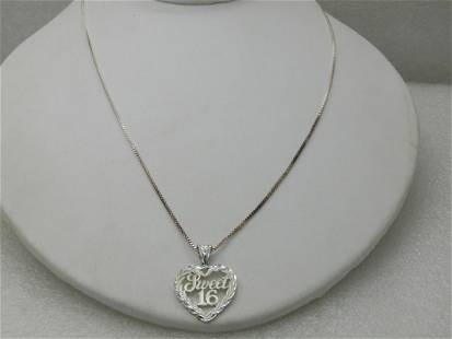 """Vintage Sterling Sweet 16 Heart Necklace, 18"""" Box"""