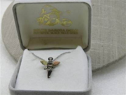 Vintage South Dakota Sterling Angel Necklace, Gold Over