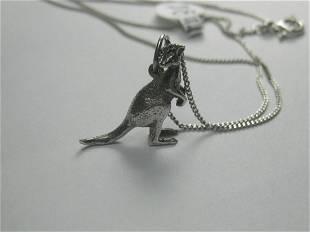 Vintage Sterling Silver Kangaroo Necklace, 1