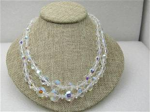 Vintage Aurora Borealis Crystal Necklace, Double Strand