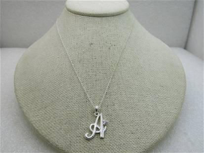 """Sterling Silver Initial A With CZ Necklace, 18"""" Signed"""