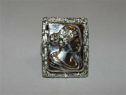 Sterling Silver Rectangular Georgian Inspired Cameo