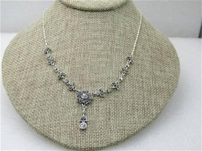 "Marcasite & Rhinestone Floral Lavalier Necklace 19.5"","
