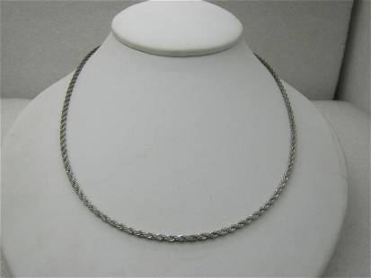 """Vintage Sterling Silver Heart Necklace, 24"""" Rope Chain,"""