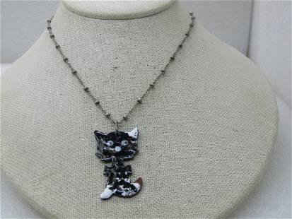 "Vintage Black & White Enameled Cat Necklace, 16"""