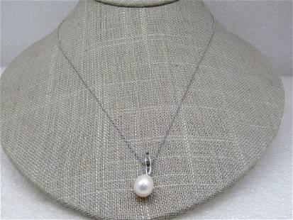 "Vintage Sterling Baroque Pearl Necklace, 18"" Signed"