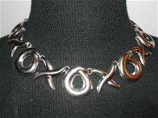 Mexican Sterling Silver XOXO Taxco Necklace