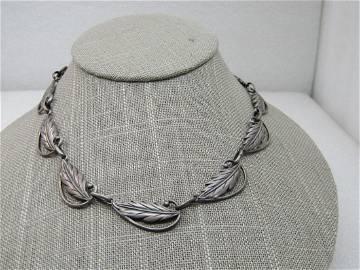 """Vintage Sterling Danecraft Leaf Necklace, Wreath, 15"""","""
