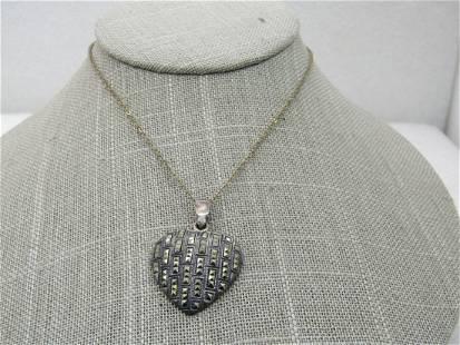 """Vintage Sterling Marcasite Heart Necklace, 18"""", Signed"""