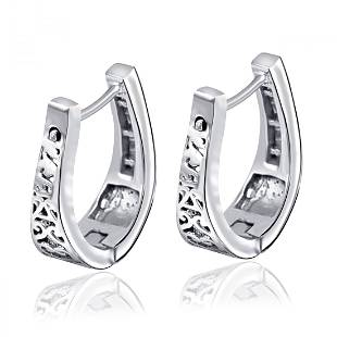 0.48 Ctw White Diamond 925 Sterling Silver Hoop Earring