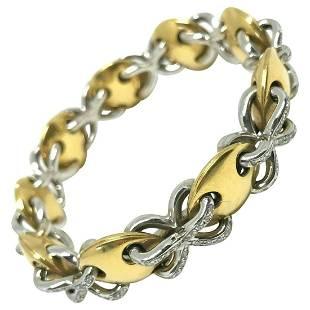 Vintage 1980s Yellow White Gold Diamond Bracelet
