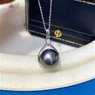 18 kt. White Gold - 12x13mm Round Tahiti Pearls Pendant