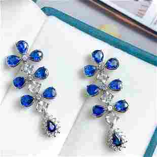 18K White Gold 7.62 ct Sapphire & Diamond Earrings