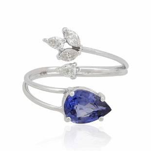 10k White Gold Ring 0.32 TCW HI/SI Diamond Sapphire