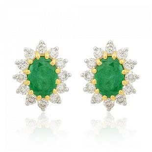 10k Yellow Gold Earrings 0.71 TCW HI/SI Diamond Emerald