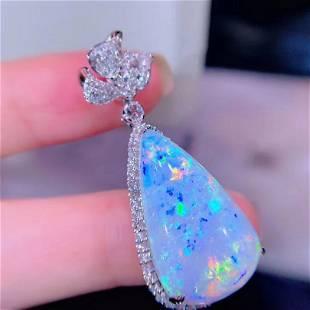 18K White Gold 17.9 ct Opal & Diamond Pendant