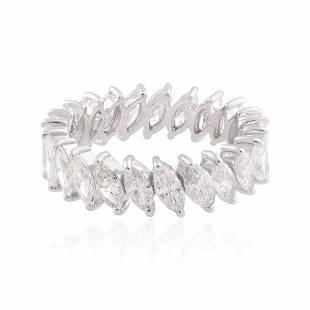 18k White Gold Ring 3.3 TCW HI/SI Diamond Jewelry