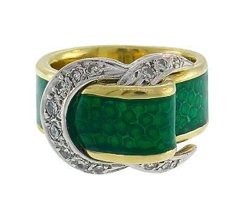 Diamond Enamel Gold Buckle Ring Art Nouveau Style