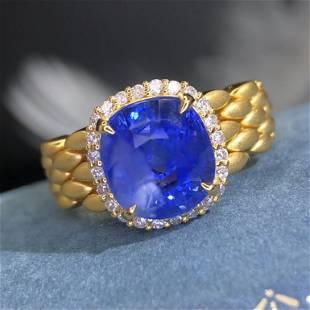18K White Gold 5.75 ct Sapphire & Diamond Ring