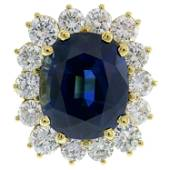 Natural Sapphire Diamond Gold Ring, 15.02 Carat No
