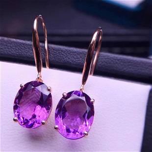 18K White Gold 7 ct Amethyst & Diamond Earrings
