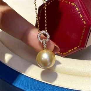18 kt. White Gold - 11x12mm Round The South Sea Pearls