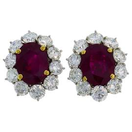 10.89 Carat Burmese Ruby Diamond Platinum Earrings