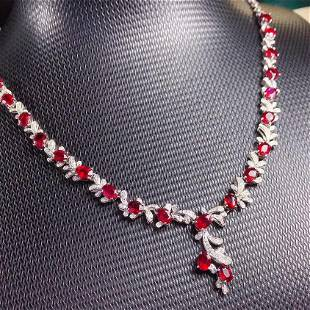 18K White Gold 8.76 ct Ruby & Diamond Necklace