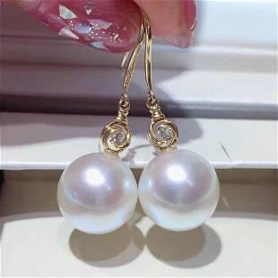 18 kt. White Gold - 8x9mm Round Japan Akoya Pearls