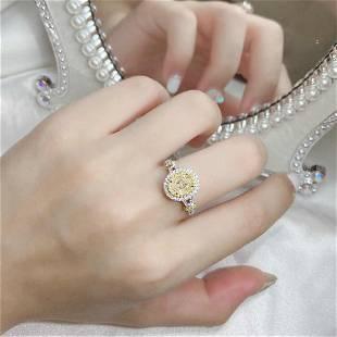 18K White Gold 1.41 CTW Yellow Diamond Ring