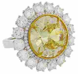 Fancy Intense Yellow Diamond White Gold Ring 10.04