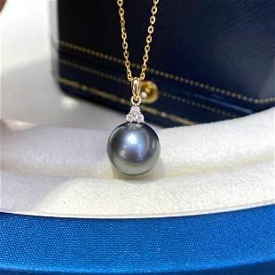 18 kt. White Gold - 11x12mm Round Tahiti Pearls Pendant