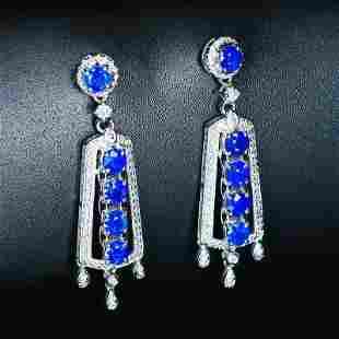 18K White Gold 2.7 ctw Sapphire & Diamond Earrings