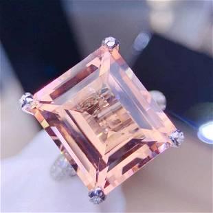 18K White Gold 11.71 ct Morganite & Diamond Ring