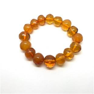 Extraordinary Vintage Amber Bracelet made from Round