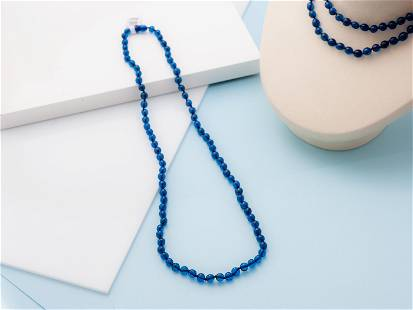 Blue Amber Necklace, Handmade, Small Nugget shape beads