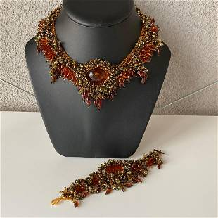Unique and Remarkable Amber Bracelet and Necklace set