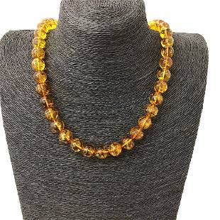 Unique and Astonishing Amber Necklace made from Round