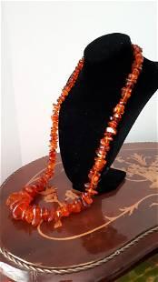 Large Vintage Natural Amber Necklace Cognac 97 gr
