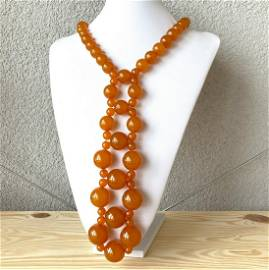 Antique Amber Necklace made from Round Amber beads