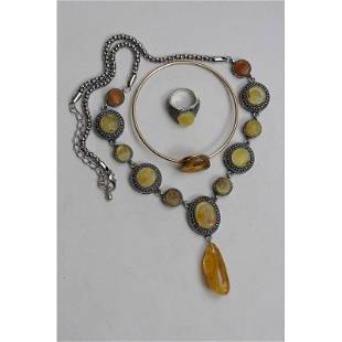 Natural Baltic amber necklace,bracelet and ring pendant