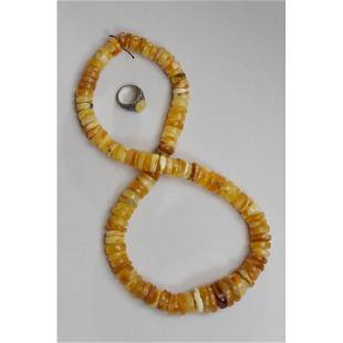 Natural Baltic amber necklace,ring button 127g