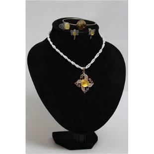 Baltic amber set of necklace, ring, bracelet, pendant