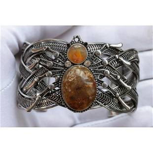 60g natural Baltic amber bracelet with Spider on it
