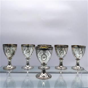 Set of Six Modern Sterling Silver Wine Goblets London