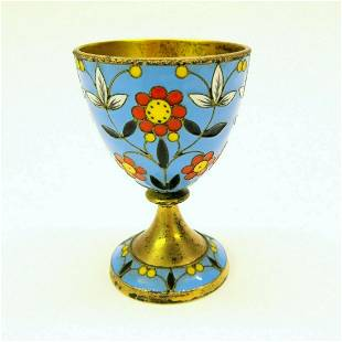 Vintage enamel egg cup Russian gilded silver bowl