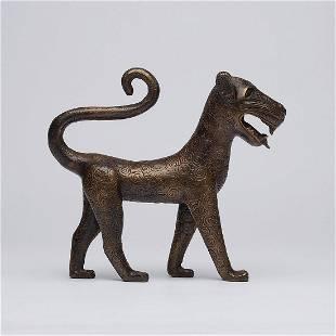 Walking Benin Leopard Sculpture - Bronze