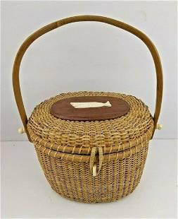 Mister Ernest Basket Whale wicker wood purse vintage