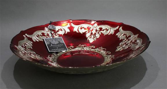 Large Handmade Silvered Ruby Glass Bowl